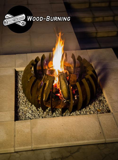 Curve Wood - FireBlades Designer Fire Pit - Flame